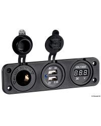 Voltmètre numérique, double prise USB 4.8A
