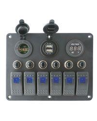 Tableau électrique - 6 inters - voltmètre - 155 x 115 mm