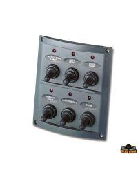 Tableau électrique Pilot - 6 inters à LED - noir - 110 x125 mm - En blister