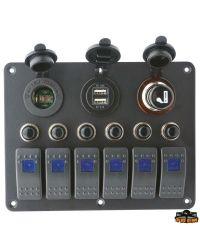 Tableau électrique - 6 inters - allume cigare - 155 x 115 mm