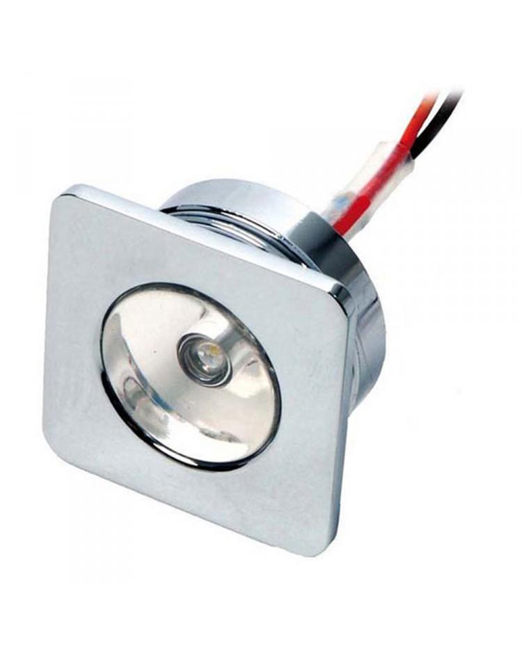 Feu de courtoisie laiton chromé à LED 30x30 - 12V - blanc