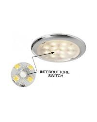 Plafonnier LED sans encastrement Procion - 2.6 W - poli miroir +interrupteur central