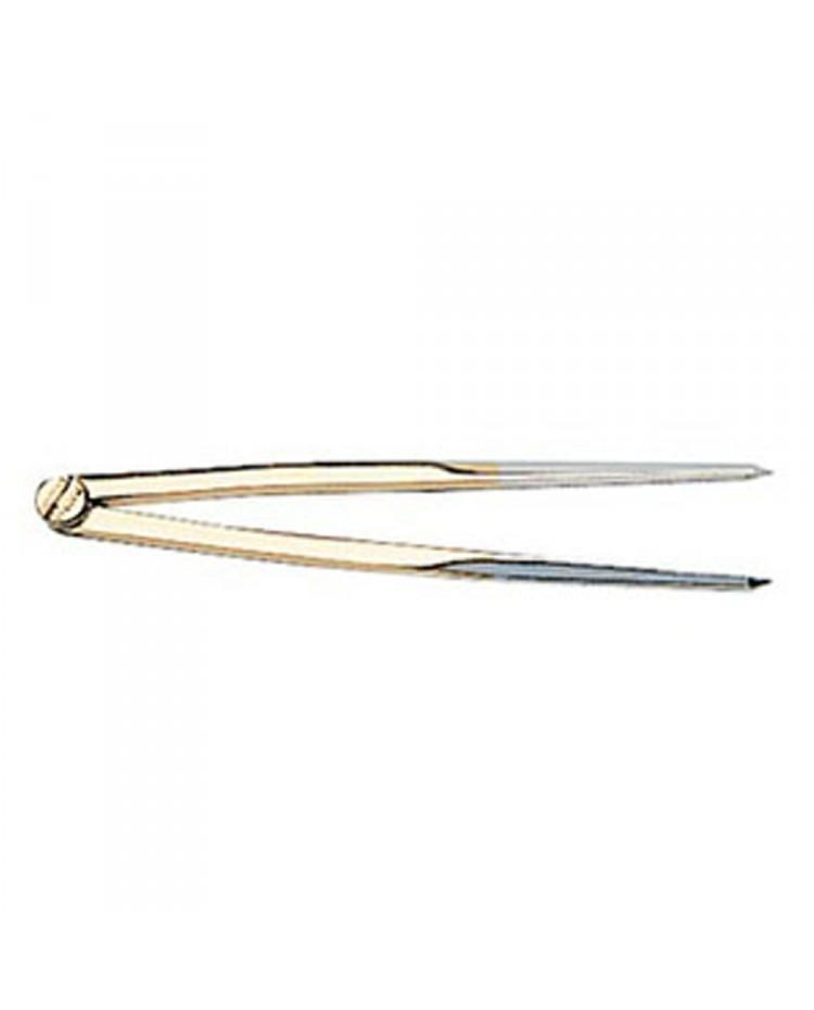 Compas pointe dure en laiton poli miroir avec étui et capuchon - 177 mm