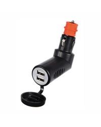 Adaptateur prise de courant double USB articulé + capuchon