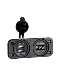 Voltmètre numérique avec  prise usb a encastrer