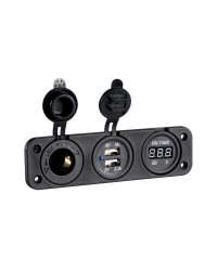 Voltmètre numérique avec prise usb + prise 12v a encastrer