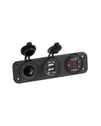 Voltmètre/Ampèremètre numérique avec prise 12V et USB