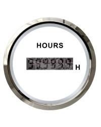 Compte-heures numérique - cadran blanc - lunette polie - 12/24 v