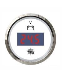 Voltmètre numérique - cadran blanc - lunette polie - 12/24V