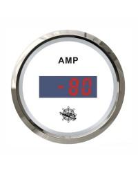 Ampèremètre numérique - cadran blanc - lunette polie - 12/24V