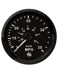 Speedomètre (à pression d'eau) - 0-35 MPH - cadran noir - lunette noire
