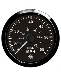 Speedomètre (à pression d'eau) - 0-55 MPH - cadran noir - lunette noire