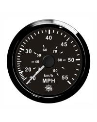 Speedomètre (à pression d'eau) - 0-65 MPH - cadran noir - lunette noire