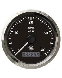 Compte-tours universel avec compte-heures - 0-4000 RPM - cadran noir - lunette polie