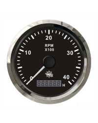 Compte-tours universel avec compte-heures - 0-8000 RPM - cadran noir - lunette polie