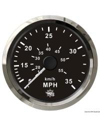 Speedomètre (à pression d'eau) - 0-35 MPH - cadran noir - lunette polie