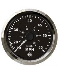 Speedomètre (à pression d'eau) - 0-55 MPH - cadran noir - lunette polie