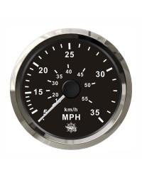 Speedomètre (à pression d'eau) - 0-65 MPH - cadran noir-  lunette polie