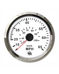 Speedomètre (à pression d'eau) - 0-55 MPH- cadran blanc - lunette polie