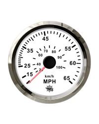 Speedomètre (à pression d'eau) - 0-65 MPH - cadran blanc - lunette polie