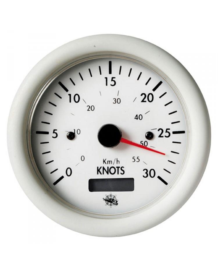 Speedomètre 0 à 30 noeuds avec compteur - 12V - blanc