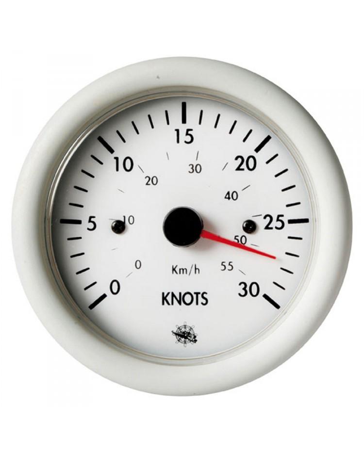 Speedomètre 0 à 50 noeuds - 12V - blanc