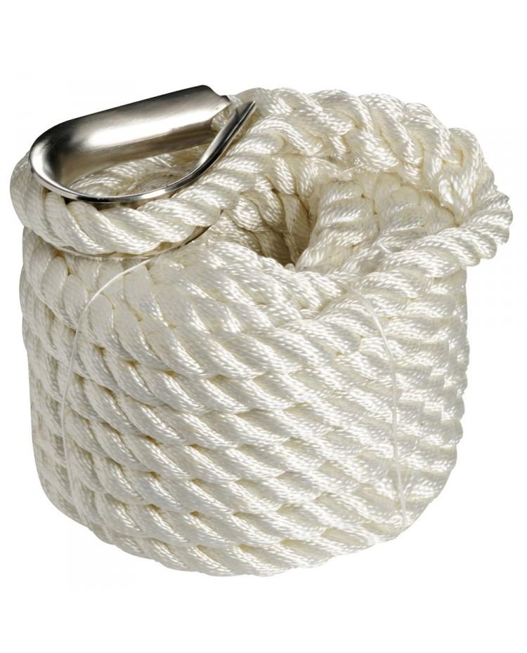 Cordage - bosse d'amarrage - ø10 mm - 6 M - blanc