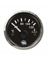 Indicateur de température d'eau - cadran noir - lunette polie - 12/24V