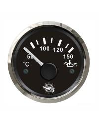 Indicateur de température d'huile - cadran noir - lunette polie - 12/24V