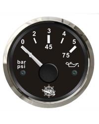 Indicateur de pression d'huile - cadran noir - lunette polie - 12/24V