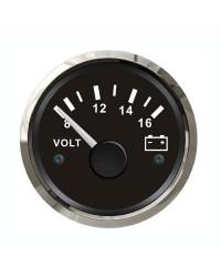 Voltmètre - cadran noir - lunette polie - 12V