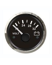 Voltmètre - cadran noir - lunette polie - 24V