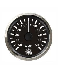 Ampèremètre 50A - cadran noir - lunette polie - 12/24V