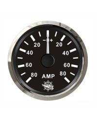 Ampèremètre 80A - cadran noir - lunette polie - 12/24V