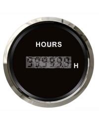 Compte-heures numérique - cadran noir - lunette polie - 12/24 v