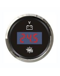 Voltmètre numérique - cadran noir - lunette polie - 12/24V