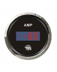 Ampèremètre numérique - cadran noir - lunette polie - 12/24V