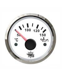 Indicateur de température d'huile - cadran blanc - lunette polie - 12/24V
