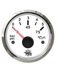Indicateur de pression d'huile - cadran blanc - lunette polie - 12/24V
