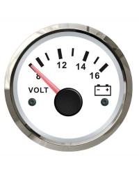 Voltmètre - cadran blanc - lunette polie - 12V