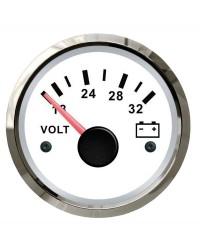 Voltmètre - cadran blanc - lunette polie - 24V