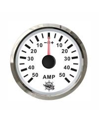 Ampèremètre 50A - cadran blanc - lunette polie - 12/24V