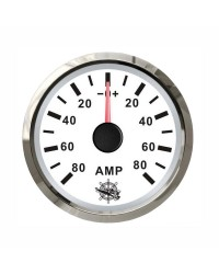 Ampèremètre 80A - cadran blanc - lunette polie - 12/24V