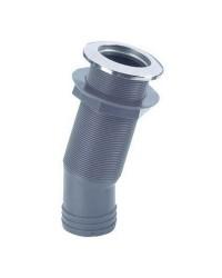 Passe-coque 15° nylon/inox 2''14 pour tuyau ø38 mm avec clapet 2''1/4 pour tuyau