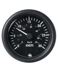 Speedomètre 0 à 30 noeuds - 12V - noir