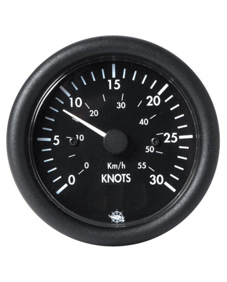 Speedomètre 0 à 50 noeuds  -12V - noir