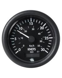 Speedomètre 0 à 50 noeuds avec compteur - 12V - noir