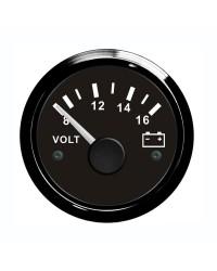 Voltmètre - cadran noir - lunette noire - 12V