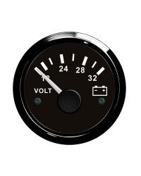 Voltmètre - cadran noir - lunette noire - 24V