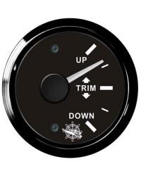 Indicateur TRIM - cadran noir - lunette noire - 12/24V